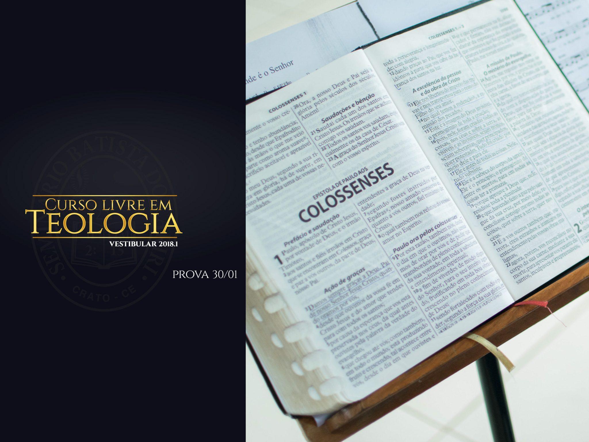 curso livre em teologia vestibular 2018.1 prova 30 de janeiro acesse www.isbc.com.br